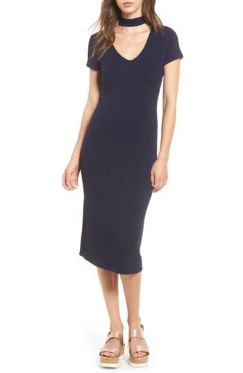 One Clothing Ribbed Choker Midi Dress, Blue