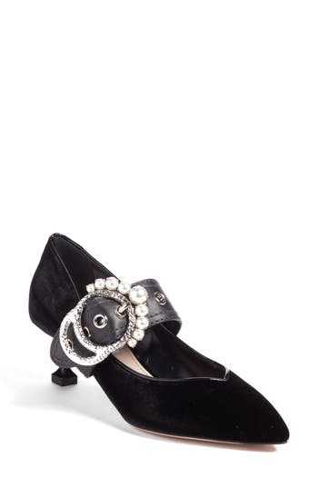 Miu Miu Embellished Buckle Pointy Toe Pump - Black