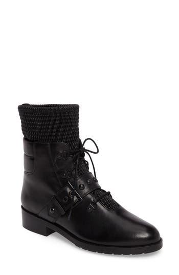 Stuart Weitzman Stitchwork Combat Boot, Black