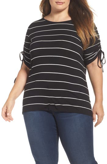 Plus Size Vince Camuto Drawstring Sleeve Stripe Top, Black