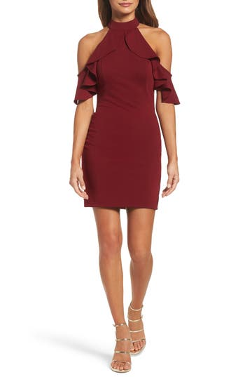 La Femme Cold Shoulder Open Back Body-Con Dress, Red