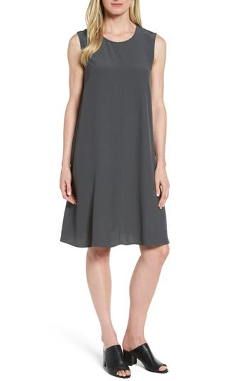 Eileen Fisher Tencel Blend A-Line Shift Dress, Brown