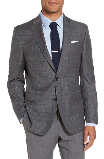 Ted Baker London Tivoli Trim Fit Plaid Wool Sport Coat Grey