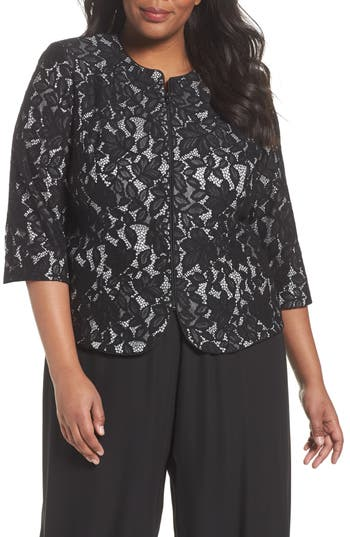 Plus Size Women's Alex Evenings Lace Jacket, Size 1X - Black