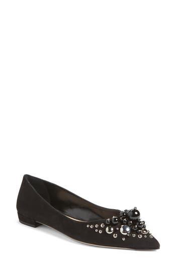 Miu Miu Embellished Pointy Toe Flat, Black
