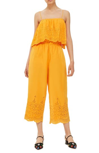 Women's Topshop Eyelet Popover Jumpsuit, Size 2 US (fits like 0) - Yellow