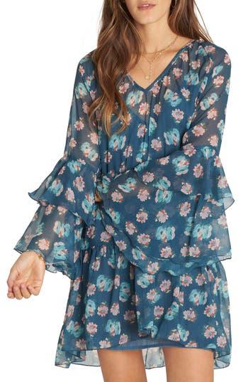Billabong Stevie Sunday Ruffle Print Dress, Blue