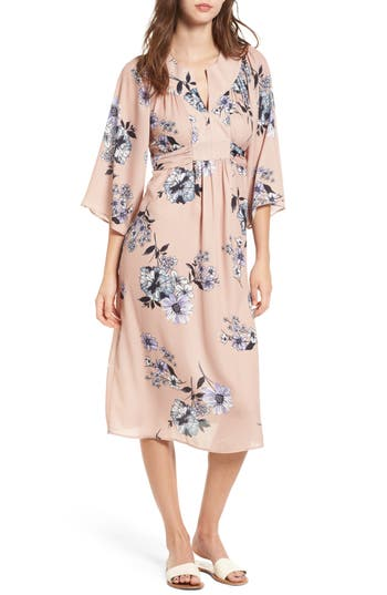 One Clothing Floral Print Kimono Midi Dress, Brown