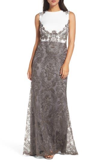 Tadashi Shoji Two-Tone Corded Tulle Gown, Grey