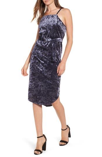 Love, Fire Crushed Velvet D-Ring Dress, Blue