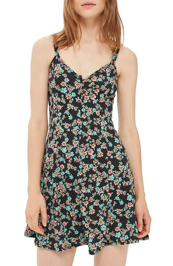 Topshop Spot Floral Skater Dress, US (fits like 0) - Black