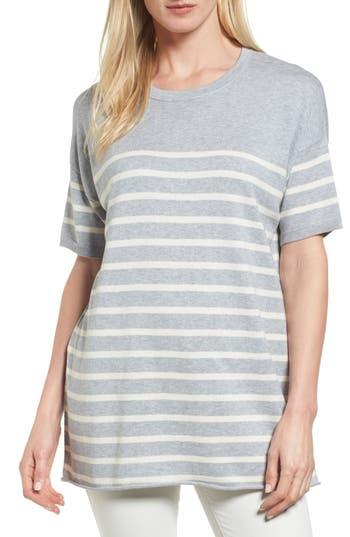 Women's Eileen Fisher Stripe Organic Cotton Sweater, Size Small - Grey