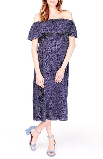 Ingrid & Isabel Off The Shoulder Maternity Midi Dress, Blue