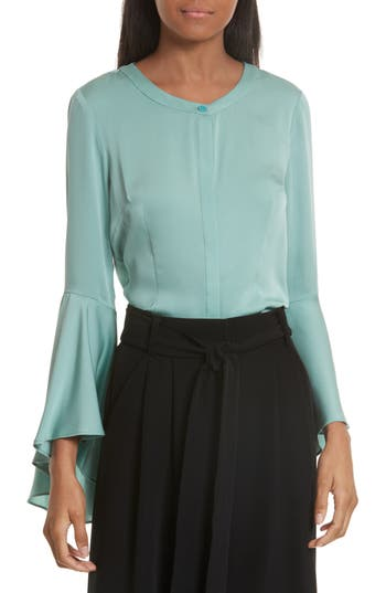 Women's Milly Michelle Bell Sleeve Stretch Silk Blouse, Size 0 - Blue
