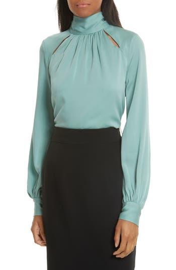 Women's Milly Simona Tie Back Stretch Silk Blouse, Size 0 - Blue