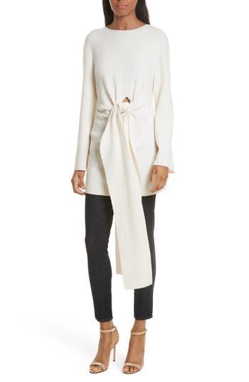 Women's Milly Twist Tie Stretch Wool Sweater Tunic, Size Petite - White