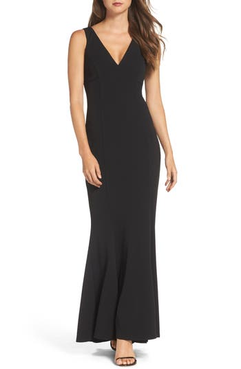 Vince Camuto Twist Back Scuba Crepe Mermaid Gown, Black