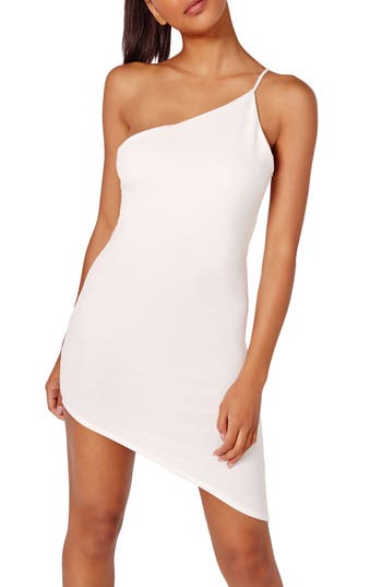 Missguided Asymmetrical One-Shoulder Body-Con Dress, US / 14 UK - White