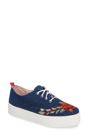 Topshop College Embroidered Flatform Sneaker - Blue