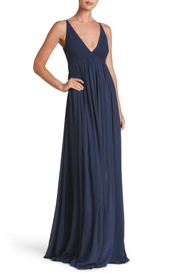 Dress The Population Phoebe Chiffon Gown, Blue