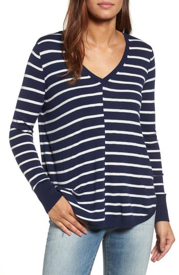Caslon High-Low V-Neck Sweater, Blue