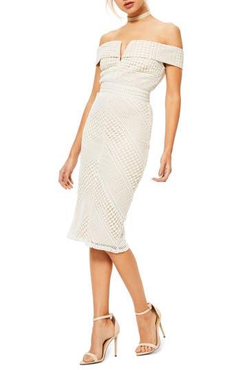 Missguided Bardot Off The Shoulder Midi Dress, US / 6 UK - White