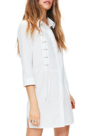 Missguided Lace-Up Shirtdress, US / 12 UK - Ivory