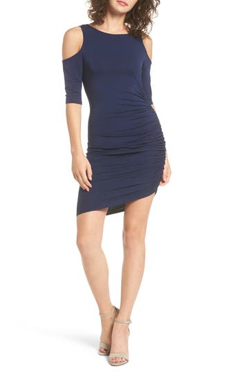 Women's Soprano Ruched Cold Shoulder Dress, Size X-Small - Blue