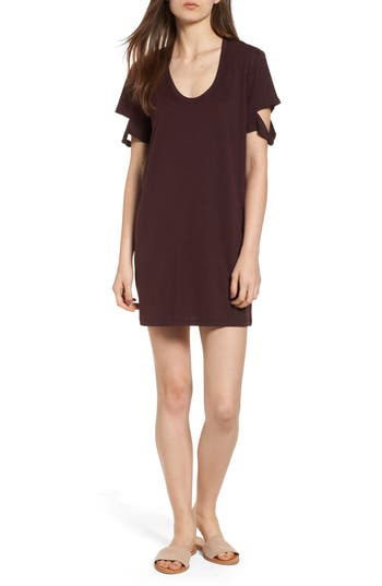 Women's Pst By Project Social T Knotted Sleeve T-Shirt Dress, Size X-Small - Purple