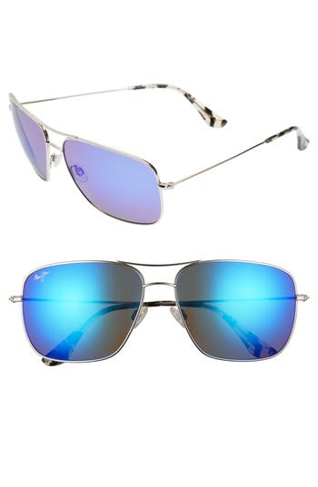 Maui Jim Cook Pines 6m Polarized Titanium Aviator Sunglasses - Silver/ Blue Hawaii