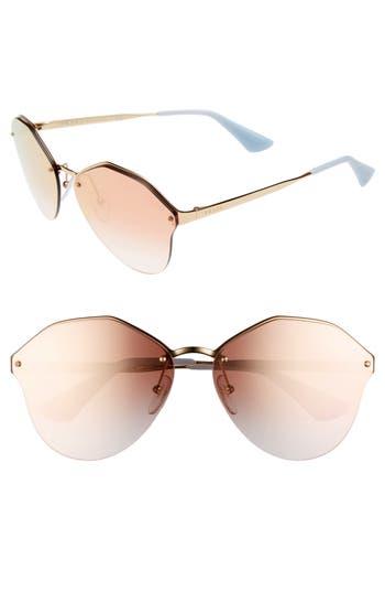 Women's Prada 66Mm Gradient Rimless Sunglasses - Gold/ Pink