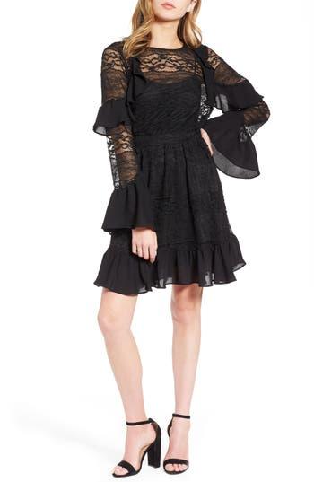 Women's Devlin Marah Lace Bell Sleeve Dress, Size X-Small - Black