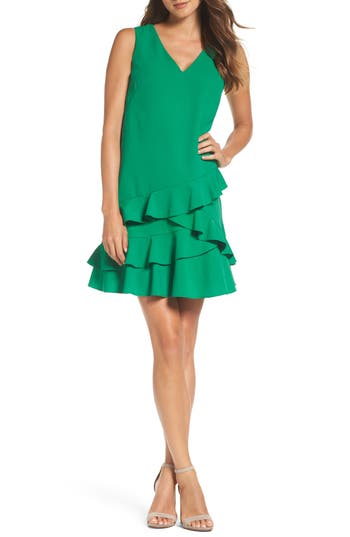 Women's Eliza J Ruffle Hem Shift Dress, Size 2 - Green