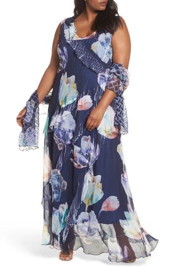 Plus Size Women's Komarov Ruffle Maxi Dress With Wrap, Size 1X - Blue