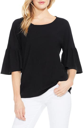 Two By Vince Camuto Relaxed Bell Sleeve Cotton Tee, Black