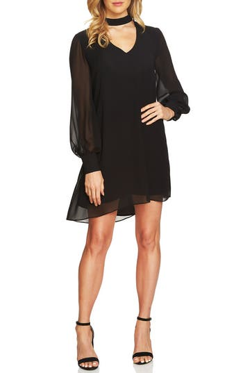 Cece Zoey Choker Shift Dress, Black