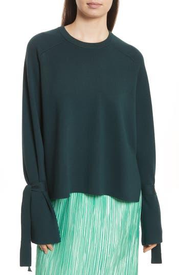 Tibi Merino Wool & Silk Bell Sleeve Pullover, Green