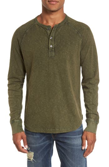 French Connection Long Sleeve Raglan Henley, Green