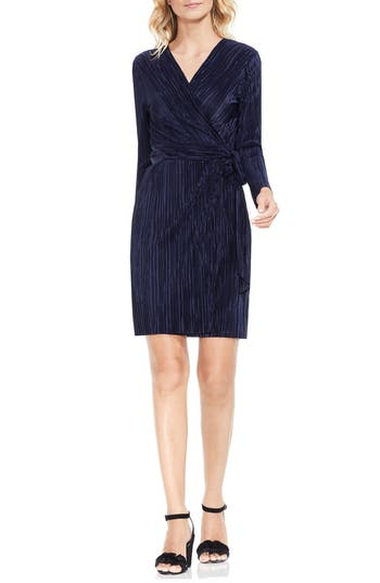 Women's Vince Camuto Pleated Knit Wrap Dress, Size X-Small - Blue
