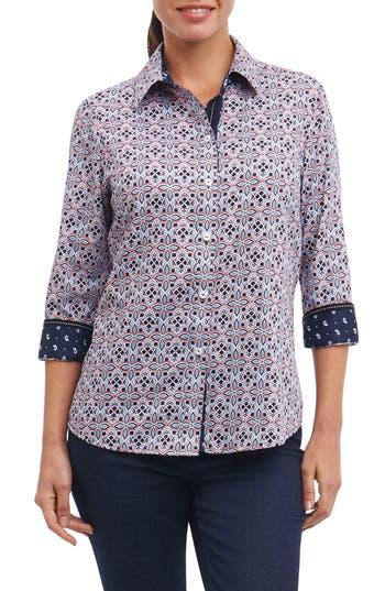 Petite Women's Foxcroft Ava Non-Iron Tile Print Cotton Shirt