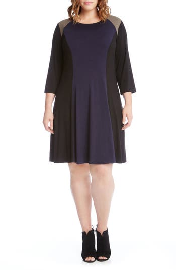 Plus Size Karen Kane Faux Suede Trim Colorblock A-Line Dress, Blue