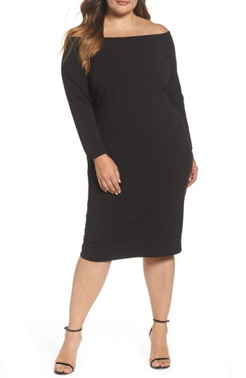 Plus Size Eliza J Off The Shoulder Scuba Sheath Dress, Black