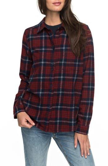 Roxy Heavy Feelings Plaid Shirt, Red