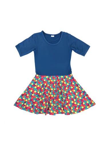 Girl's Chooze Spree Mixed Print Dress, Size XXS (4) - Blue