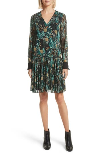 Grey Jason Wu Print Drop Waist Drawstring Dress, Black