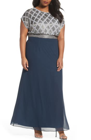 Plus Size Adrianna Papell Beaded Gown, Blue