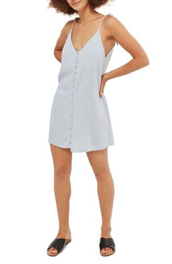 Topshop Molly Button Mini Slipdress, US (fits like 6-8) - Blue