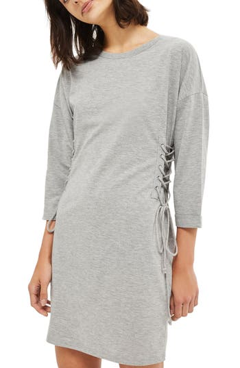 Topshop Lace-Up Side Tunic Dress, US (fits like 0) - Grey