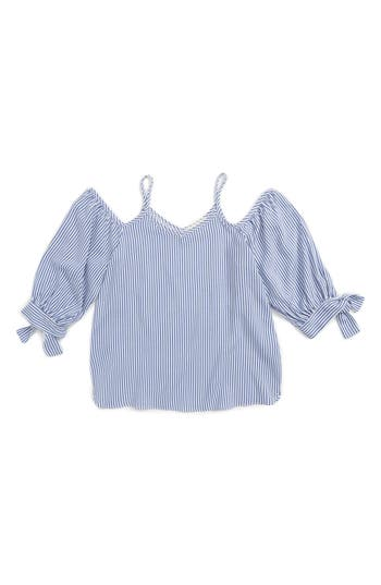 Girl's Soprano Stripe Cold Shoulder Top, Size S (8-10) - Blue