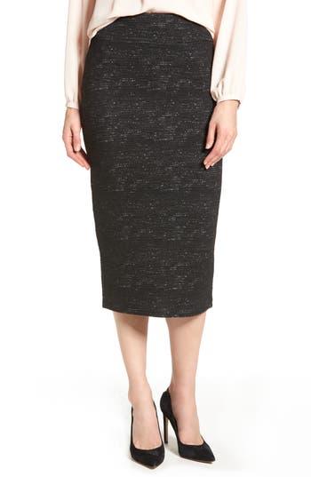 Halogen Jacquard Pencil Skirt, Black